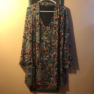 - Indication by ECI Paisley Chiffon Shift Dress